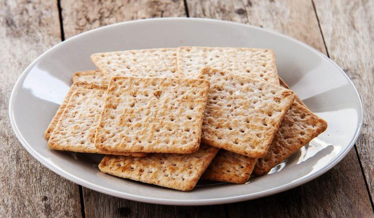 Whole wheat crackers on a plate